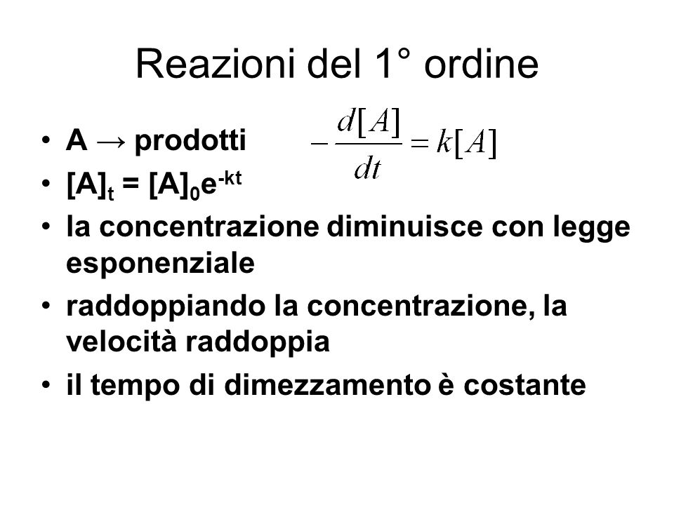 Reazioni del 1° ordine A → prodotti [A]t = [A]0e-kt